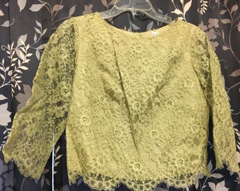 1960s Lace Green top