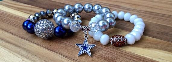dallas cowboys football stackable beaded bracelet set silver. Black Bedroom Furniture Sets. Home Design Ideas