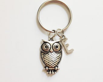 Big owl keychain - animal keychain - personalized keychain - initial keychain -  cusromized - best friend - friendship gift