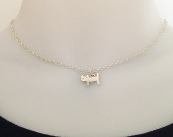 Cat necklace - silver cat necklace - bff necklace - friendship necklace - best friend - gift for her