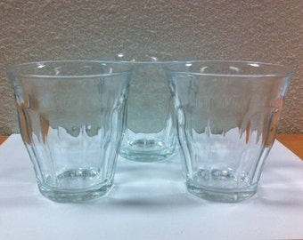 "Duralex (Set of 6) Low Ball Tumblers - ""Picardie"" Made in France 1970's"