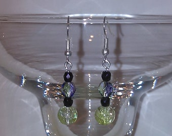 Slightly green glass dangle earrings