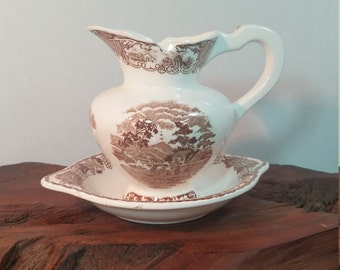 Brown Transferware Small Pitcher and Plate, Brown Cottage Pattern Transferware Pitcher and Plater, Water Pitcher and Plate Brown And White