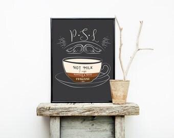 Pumpkin Spice Latte - Restaurant Decor - Kitchen Sign - Coffee Sign - Wedding Gift - Pumpkin Latte - Espresso Cup - First Home Decor