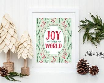 Christmas Sign - Mint Christmas Wall Decor - Holiday Home Decor - Joy to the World Sign - Christmas Printable - Instant Download - 8x10