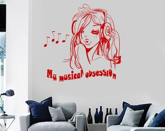 Wall Vinyl Decal Girl Musical Obsession Quote Headphones Sexy Girl's Room Modern Sketch Home Art (#1248di)