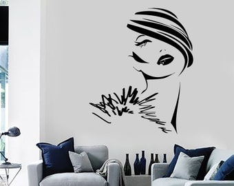 Wall Decal Fashion Girl Woman Young Lady Face Vinyl Sticker Art 1414dz
