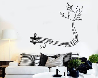 Wall Vinyl Music Notes Tree Cool Guaranteed Quality Decal Mural Art 1544dz