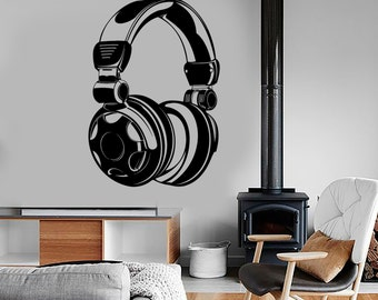 Wall Vinyl Music Headphones Head Phones Song Guaranteed Quality Decal Mural Art 1576dz