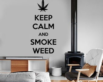 Wall Vinyl Marihuana Keep Calm And Smoke Weed Decal Mural Art 1605dz