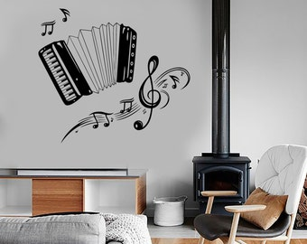 Wall Vinyl Music Accordion Set Of Notes Guaranteed Quality Decal 1689dz