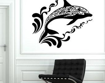 Wall Vinyl Dolphin Ocean Sea Ornament Mural Vinyl Decal Sticker 1735dz