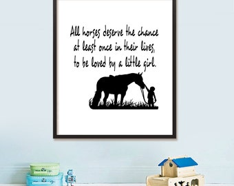 Typographic Horse Printable Wall Art Instant Download Typography Home Decor Black and White Horses Poster Gift Idea Motivational Quote Art