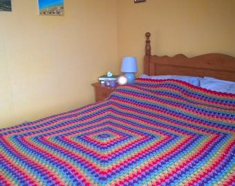 Crochet Blanket Giant Granny Square Throw Afghan
