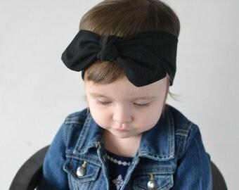 Black Knotted Bow Headband, Baby Turban, Baby Headwrap, Child's Turban, Toddler Headwrap, Adult Turban