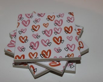 Ceramic Tile Coasters - Love hearts - Set of 4