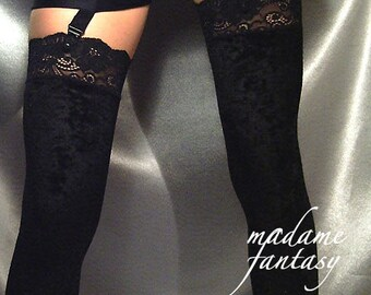 Black Velour stockings Lace Top