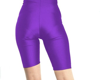 High waisted purple spandex shorts