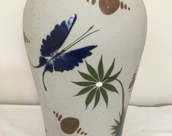 Vintage Tonala Ceramic Vase Made in Mexico - Hand Painted Vase by Mateos Tostada