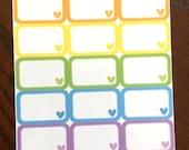 Rainbow Heart Half Boxes planner stickers