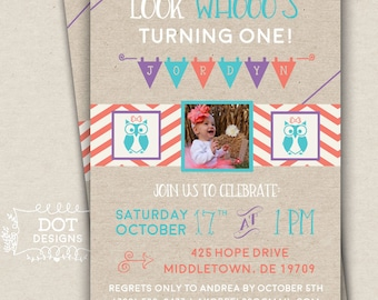 Owl Themed Birthday Party Invitation - Custom Digital Print
