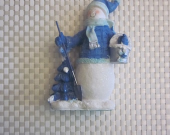 SNOWMAN CHRISTMAS STATUTE Blue and White