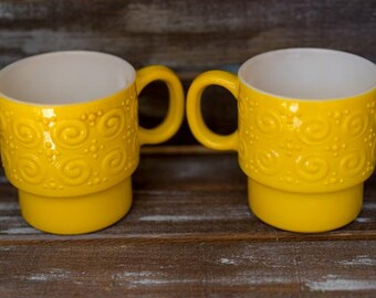 Yellow Milk Glass Mugs