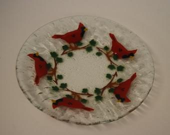 Art Glass Plate with a Multiple Cardinals design