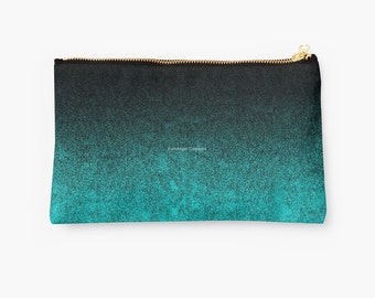 Aqua & Black Glitter Gradient Carry-All Pouch, 2 Sizes Available!