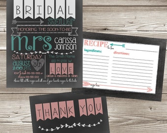 Chalkboard Bridal Shower Invitation with Recipe and Thank You Cards