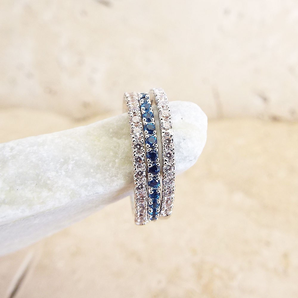 Sapphire diamond Full Eternity Ring CZ Blue Sapphire Micro Pave thin Stacking Band White Gold 1.5 mm thin wedding band gift for girlfriend