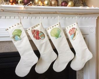 Beach Stocking, Sea Shell Stocking, Christmas Stocking Muslin Stocking, Applique Stocking, Jingle Bell Stocking Holiday Coastal Decor