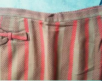 50s Pencil Skirt / 50s Wiggle Skirt / 50s High Waist Rockabilly Skirt / Herringbone Pencil Skirt