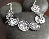Silver Yoga Bracelet - Silver Chakra Bracelet - Yoga Jewelry - Medallion Bracelet - Handmade Jewelry - Silver Handmade - Silver Bracelet