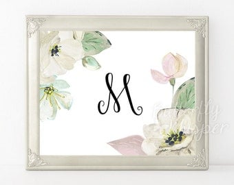 Floral monogram, Initial Nursery Letter, Monogram Art, printable flower nursery initials, Nursery decor, Nursery print, Nursery monogram