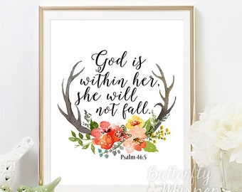 Nursery Bible verse baby girl quote, God is within her she will not fall, Psalm 46 5, Bible quotes wall art christian baby girl room gift