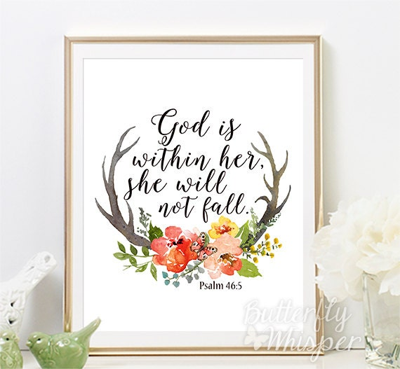 Spiritual Baby Shower Quotes: Psalm 46:5 Christian Wall Art Scripture Print Nursery Bible