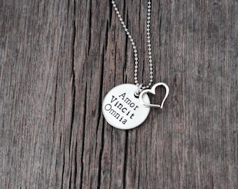 Amor Vincit Omnia hand stamped necklace with silver heart charm / Love conquers all