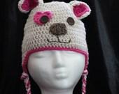 Custom Puppy Love Crochet Hat, Baby, Crochet Kids Dog Hat, Crochet Child Photo Prop, Puppy Ear Flap Hat,Dog hat for Child, Newborn Hat, Dog