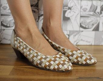 Real Vintage Women's Wicker Pumps Beige Shoes
