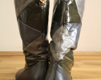 Real Vintage Women's Patent Leather Patchwork Knee High Boots Eu 40, UK 7, US 9