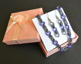 Purple Rose Byzantine Chainmail Bracelet