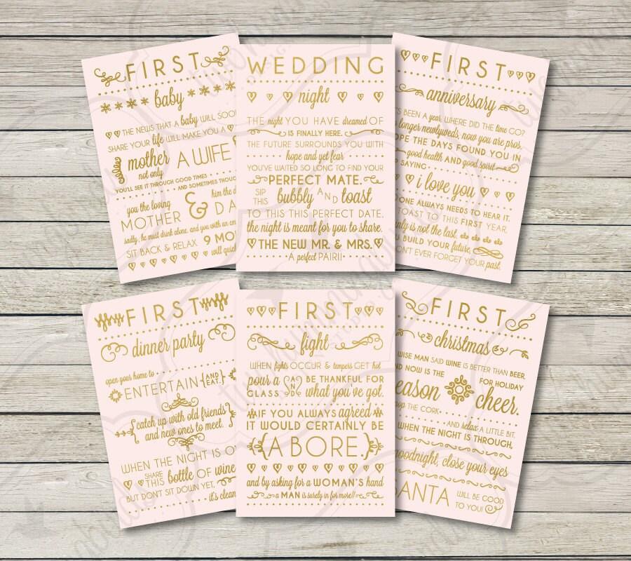 Wedding Gift Wine Labels Blush & Gold First Anniversary