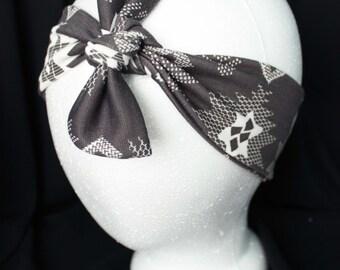 Top Knot Headband, Grey Polka Dot Headband, Turban Headband, Womens Headband, Womens Turban, Grey Top Knot, Wide Headband, Teen Top Knot