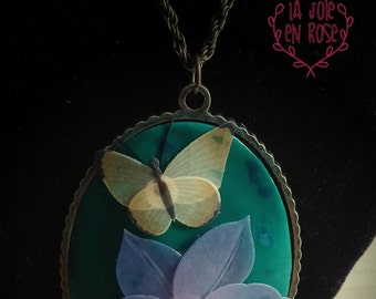 Flower and Butterfly Necklace