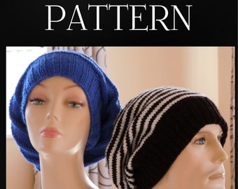 Knitting PATTERN - Slouchy Hat - Easy, Instant Download