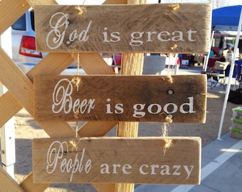 People Are Crazy- Billy Currington Handmade wood Sign with Twine