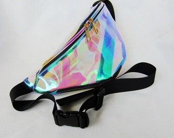 Rainbow semi see-through fanny pack | edc bag nocturnal wonderland rave music festival bag
