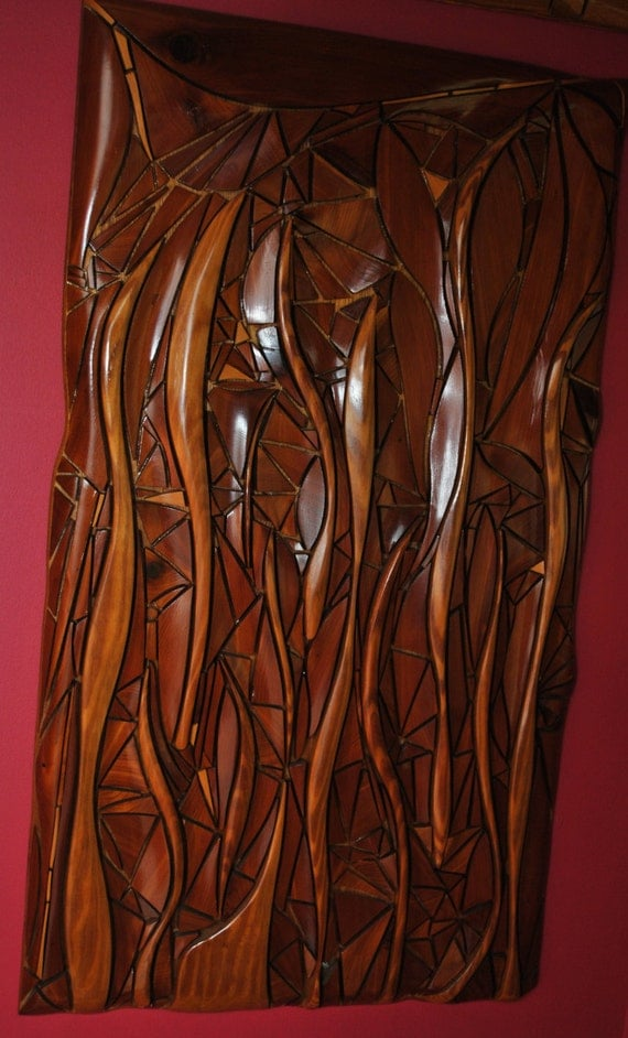 Wall sculpture abstract wood mosaic handmade by Carusosmelange