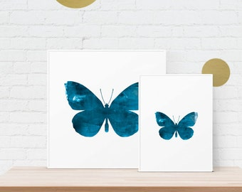 Butterfly Ink Texture - Denim Blue Distressed Ink Roller/Watercolour Graphic Design Art Print